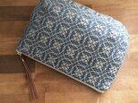 pouch[手織りポーチ] ブルー×シルバーベージュの画像