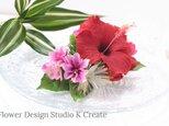 赤いハイビスカスとブーゲンビリアのコーム ハワイ挙式 髪飾り トロピカル 造花 南国 花 フラワー フラ フラダンス の画像