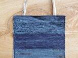 A4ファイルが入る、紺色のフラットバッグ(内側にポケットあり)③ 木綿・裂き織り の画像