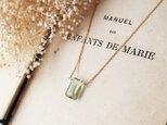 【14kgf】宝石質グリーンアメジストの一粒ネックレス(レクタングルカット)の画像