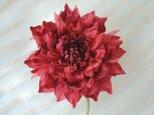 シルクデシンのダリア 深紅色 * コサージュ 髪飾りにもの画像