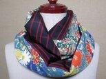 着物リメイク 黒に赤の格子模様の大島紬×縮緬小紋着物から素敵なスヌードの画像
