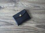 イタリア製牛革のコンパクト財布 S / ブラック※受注製作の画像