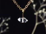 14kgf ハーキマーダイヤモンドの一粒ネックレス( ニューヨーク産 高品質AAA )の画像
