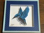 額装済み切り絵作品・青い鳥の画像
