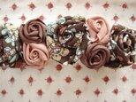 チョコレート ピンク ♪花柄 バラ ♪ バレッタの画像