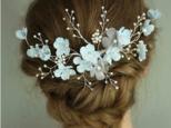 結婚式・ウエディング*小枝 ヘッドドレス フラワー  花 ヘアアクセサリー ブライダル 卒業式 成人式 披露宴 二次会の画像