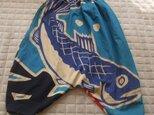 魚が元気な大漁旗サルエルパンツ 木綿の画像
