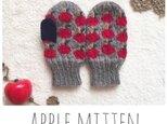 【色が選べる*りんごミトン(キッズ用)】198…あったか手袋 お揃い 毛糸 アップル クリスマスの画像