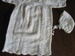 手編みベビードレス・白の画像