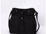 【0049黒】可愛いショルダーバッグ キャンバス 帆布バッグ ポーチ 巾着バッグ シンプル 大人可愛いの画像