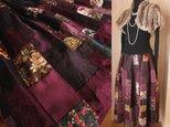 SOLD 再 Dreamin' リネン 絵画なパッチワーク ボリューム ティアードスカート グレープ ヴァイオレットの画像