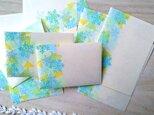 消しゴム版画「和紙の小さな封筒と便せんセット(雪の結晶と光)」の画像