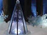 【大人のクリスマスツリー/雪と氷の世界】(Mサイズ)ステンドグラス・ランプ,LEDライト付の画像