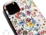 【iphone11/iphone11pro /11promax】レザーケースカバー(花柄×ブラック)ワイルドフラワーの画像