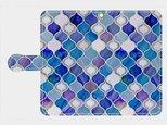 グラスタイル アラベスクパターン(ディープブルー) xperia、galaxy 等多機種対応手帳型 スマホケース の画像
