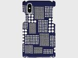 北欧テイスト パッチワーク ドット(ネイビー) iphone5/5c/5s/6/6s/7/8/X 等 専用  *ミナペルホネン*の画像