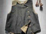 odd vest [ウールリネン][black&khaki]の画像