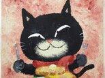 黒猫ホットケーキ木製パネル【アクリル原画】の画像