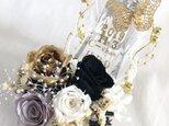 【プリザーブドフラワー/ガラスの靴シリーズ】ゴールドローズの舞踏会の靴【フラワーケースリボンラッピング付の画像