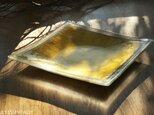 ガラスの大皿 -「 金色のガラス 」● 約28cm角の画像
