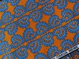 アフリカ布『カンガ』オレンジ × セルリアンブルーの画像