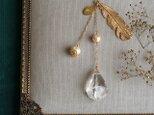天然石とパールの帯飾り《水晶/羽根》【送料無料】の画像