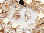 送料無料 台座付き ガラスストーン 8mm 50個 カン付き ゴールド 台座 チャーム アクセサリー パーツ (AP0550)の画像