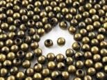 送料無料 メタルビーズ 4mm 丸 500個 金古美 スペーサー メタルパーツ ボールビーズ (AP0705)の画像