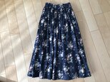 【SALE】チューリップの花ジャガードスカート(ネイビー)の画像