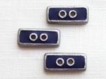(3個)ネイビー×シルバーの四角いボタン フランス製の画像