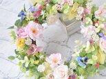 little flower waltz 小さな花のワルツのリース:さくら ばら すみれ ピンク ブルーの画像