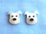 (2個) 犬のボタン・白 フランス製の画像