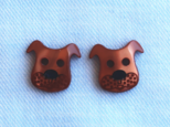 (2個) 犬のボタン・茶色 フランス製の画像