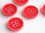 (3個) 四つ葉のボタン15mm  赤フランス製の画像