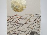 ギルディング和紙葉書 お月見兎 黄混合箔の画像