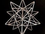 ヒンメリ「太陽 the sun」中サイズ星型 野外使用可なアルミ製 幾何学オブジェ シルバー クリスマスオーナメントの画像