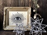 ヒンメリ「太陽 the sun」小サイズ星型 野外使用可なアルミ製 幾何学オブジェ シルバー クリスマスオーナメントの画像