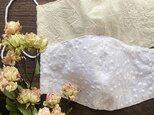 2枚 上品 刺繍 花柄 エレガント 綿100% ダブルガーゼ 大人用 立体型 エコ マスク♪の画像