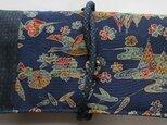 4704 藍大島紬と小紋の着物で作った和風財布・ポーチ #送料無料の画像
