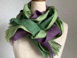 手織りストール 萌黄色×江戸紫の画像