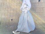 ふんわりダブルガーゼのロングスカート*ヒッコリーデニム風ストライプ*マキシ丈*コットン100%の画像