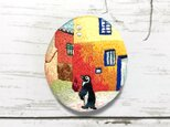 空想刺繍ブローチ*街角のペンギンの画像