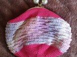 編みがま口ポーチ ピンク+ピンク系ミックスの画像