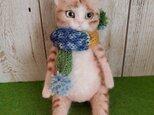 茶白猫(お座り)羊毛フェルトの画像