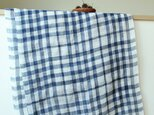 手織り・藍染め リネン大判ストール の画像