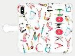 人文字でお名前入れ!③ <love music> iphone 5s/6/6s/SE/7/8/X/XS/11 手帳型の画像