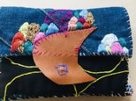 1053 中財布 ハンドメイド 手縫い 刺繍 ビーズの画像