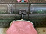 『受注制作品』がまぐち親子財布ポーチ 牛革 くすみピンク の画像
