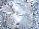 羊の刺繍入りコットンリネン立体マスク(送料込み)の画像